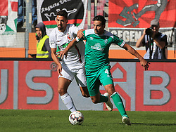 22.09.2018,1. BL, FC Augsburg vs Werder Bremen, WWK Arena Augsburg, Sport, im Bild:...Rani Khedira (FC Augsburg) vs Claudio Pizarro (Bremen)...DFL REGULATIONS PROHIBIT ANY USE OF PHOTOGRAPHS AS IMAGE SEQUENCES AND / OR QUASI VIDEO...Copyright: Philippe Ruiz..Tel: 089 745 82 22.Handy: 0177 29 39 408.e-Mail: philippe_ruiz@gmx.de. (Credit Image: © Philippe Ruiz/Xinhua via ZUMA Wire)