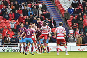 Scunthorpe United defender Cameron Burgess (21) clears ball away from goal area during the EFL Sky Bet League 1 match between Doncaster Rovers and Scunthorpe United at the Keepmoat Stadium, Doncaster, England on 17 September 2017. Photo by Ian Lyall.