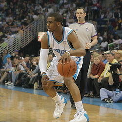 29 March 2009: New Orleans Hornets guard Chris Paul (3) on the court during a 90-86 victory by the New Orleans Hornets over Southwestern Division rivals the San Antonio Spurs at the New Orleans Arena in New Orleans, Louisiana.