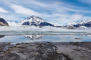 Melt wateers at terminus of Sheridan and Sherman Glaciers in Chugach National Forest in Southcentral Alaska. Spring. Afternoon.