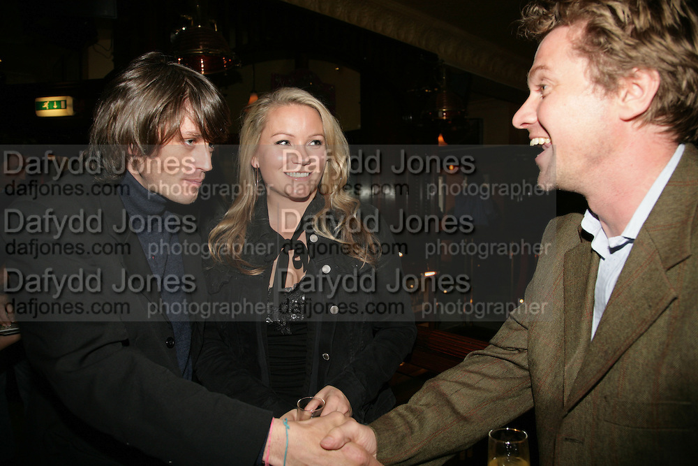 Sam McLean, Georgea Blakey and Mathew Racher, PJ's Annual Polo Party . Annual Pre-Polo party that celebrates the start of the 2007 Polo season.  PJ's Bar &amp; Grill, 52 Fulham Road, London, SW3. 14 May 2007. <br /> -DO NOT ARCHIVE-&copy; Copyright Photograph by Dafydd Jones. 248 Clapham Rd. London SW9 0PZ. Tel 0207 820 0771. www.dafjones.com.
