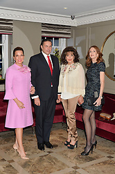 Left to right, SONIA FALCONE, PRINCE CHARLES PHILIPPE d'ORLEANS, BARIA ALAMUDDIN and KIMBERLEY ROBSON at a cocktail party hosted by Mrs Sonia Falcone and Mrs Kimberley Robson Chairman of Le Bal de la Riveria 2016 for the forthcoming Ball held at Flemings Hotel, Half Moon Street, London on 27th September 2016.