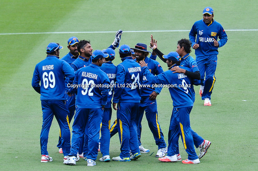 Sri Landa celebrates the wicket of Martin Guptill of the Black Caps during the ICC Cricket World Cup match between New Zealand and Sri Lanka at Hagley Oval in Christchurch, New Zealand. Saturday 14 February 2015. Copyright Photo: John Davidson / www.Photosport.co.nz