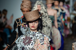 © Licensed to London News Pictures. 15/02/2019. London, United Kingdom. London Fashion Week AW19 - Matty Bovan catwalk show - models on the catwalk. Photo credit : Richard Isaac/LNP