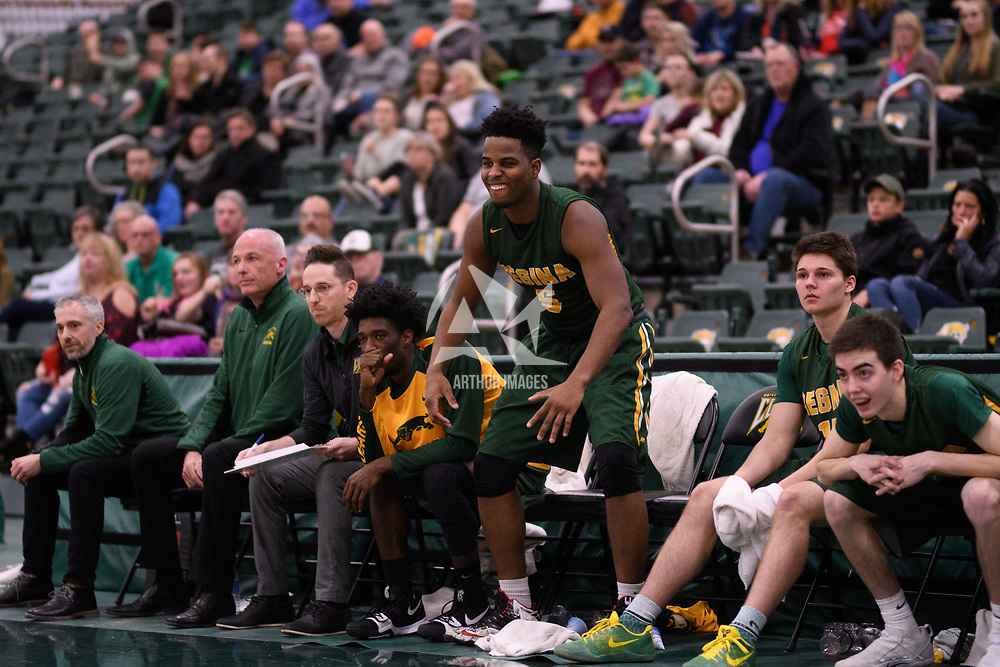 3rd year forward Shaquille Harris (6) of the Regina Cougars during the Men's Basketball home game on January 6 at Centre for Kinesiology, Health and Sport. Credit: Arthur Ward/Arthur Images