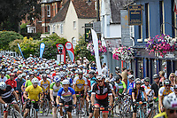DORKING UK 31ST JULY 2016: Riders pass through Dorking. The Prudential RideLondon-Surrey 100 Sportive in London 31st July 2016<br /> <br /> Photo: Thomas Lovelock/Silverhub for Prudential RideLondon<br /> <br /> Prudential RideLondon is the world&rsquo;s greatest festival of cycling, involving 95,000+ cyclists &ndash; from Olympic champions to a free family fun ride - riding in events over closed roads in London and Surrey over the weekend of 29th to 31st July 2016. <br /> <br /> See www.PrudentialRideLondon.co.uk for more.<br /> <br /> For further information: media@londonmarathonevents.co.uk