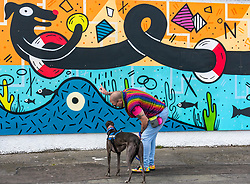 Edinburgh, Scotland, 03 May 2019. Pictured: Albert Duncan with 'Blue', an Irish Greyhound and former racing dog, who is in training as a therapy dog to help people with anxiety and depression at the Edinburgh Dog & Cat Home mural unveiling. , The 80 foot mural is unveiled today as a colourful addition to Seafield promenade. It is designed and painted by local artists Studio N_Name. It depicts the people, heritage and environment of the local community and features flora, fauna and historic elements of the local coastline. It has been made possible through through partnership with Edinburgh Shoreline Project. It is on the seafront wall of the dog & cat home which rescues, reunites and rehomes lost, stray and abandoned dogs and cats across Edinburgh and the Lothians, caring for 2,367 dogs and 771 cats in 2018.<br /> Sally Anderson | EdinburghElitemedia.co.uk