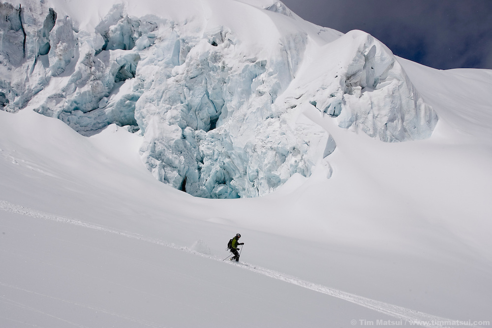 A lone skier on the Vallee Blanche Glacier, Chamonix, France.