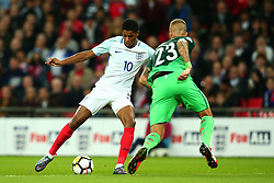Marcus Rashford of England takes on Aljaz Struna of Slovenia - Mandatory by-line: Robbie Stephenson/JMP - 05/10/2017 - FOOTBALL - Wembley Stadium - London, United Kingdom - England v Slovenia - World Cup qualifier