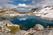 Middle Nydiver Lake in the Ansel Adams wilderness. High Sierra backpacking trip to Garnet Lake and Nydiver Lake in the Ansel Adams Wilderness out of Devil's Postpile national monument 2017.