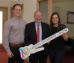 Pictured at the opening of the Leeson Enterprise Centre Westport, were Coral Sheridan with Michael Ring Minister for Rural and Community Development, <br />