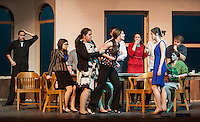 Sarah Cook holds back Mariah Monahan as discussion gets heated with Heather Hunt during dress rehearsal for 12 Angry Jurors at Gilford High School Wednesday afternoon.    (Karen Bobotas/for the Laconia Daily Sun)