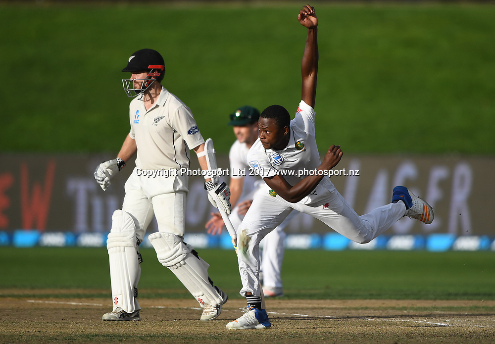 Kagiso Rabada bowling on Day 3 of the 3rd test match between New Zealand Black Caps and South Africa Proteas. International test match cricket. Seddon Park, Hamilton, New Zealand. Monday 27 March 2017. © Copyright photo: Andrew Cornaga / www.photosport.nz