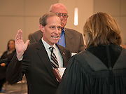 Houston ISD trustee Greg Meyers takes the oath of office during a ceremony, January 16, 2014.