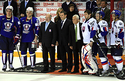 Best players Anze Kopitar, Miha Rebolj (missing Robert Kristan) of Slovenia, Matjaz Zargi, ?, ?, Jan Lasak, Lubomir Visnovsky and Andrej Sekera of Slovakia at ice-hockey game Slovenia vs Slovakia at second game in  Relegation  Round (group G) of IIHF WC 2008 in Halifax, on May 10, 2008 in Metro Center, Halifax, Nova Scotia, Canada. Slovakia won after penalty shots 4:3.  (Photo by Vid Ponikvar / Sportal Images)