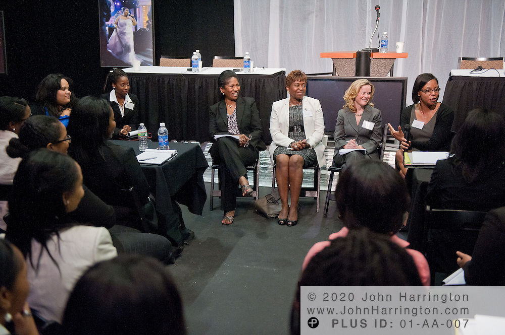 (from left to right) Josephine Pamphile, President of the T. Howard Foundation, Karen Thompson, Manager of Human Resources at BET, Barbara Dorsey-Cowan, Director of Talent at Comcast Spotlight, and Lorisa Bates, Senior Director of Programming at Showtime Networks speak to the female 2011 T. Howard interns at the T. Howard intern orientation held at BET Studios in Washington, DC on June 2nd, 2011.
