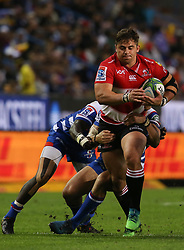Rohan Janse van Rensburg of the Emirates Lions tries to get away during the first half of the Vodacom Super Rugby match between the DHL Stormers and the Emirates Lions at DHL Newlands in Cape Town, South Africa, Saturday May 26 2018. <br /> (Roger Sedres/ANA)