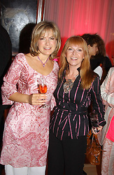 Left to right, TV presenter PENNY SMITH and singer TOYAH WILCOX at the annual Laurent Perrier Pink Party held at The Sanderson Hotel, Berners Street, London on 27th April 2005.<br />