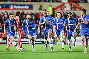 Gillingham's Ryan Jackson celebrates his goal with his team mates during the Sky Bet League 1 match between Swindon Town and Gillingham at the County Ground, Swindon, England on 26 December 2015. Photo by Shane Healey.
