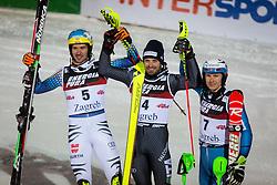 "Felix Neureuther (GER), Manfred Moelgg (ITA), Henrik Kristoffersen (NOR) during FIS Alpine Ski World Cup 2016/17 Men's Slalom race named ""Snow Queen Trophy 2017"", on January 5, 2017 in Course Crveni Spust at Sljeme hill, Zagreb, Croatia. Photo by Ziga Zupan / Sportida"