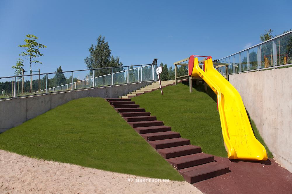 Kids slider and stairway, playground in Estonian Road Museum, Estonia