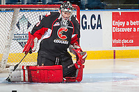 KELOWNA, CANADA - FEBRUARY 18: Nick McBride #33 of the Prince George Cougars warms up in net against the Kelowna Rockets on February 18, 2017 at Prospera Place in Kelowna, British Columbia, Canada.  (Photo by Marissa Baecker/Shoot the Breeze)  *** Local Caption ***