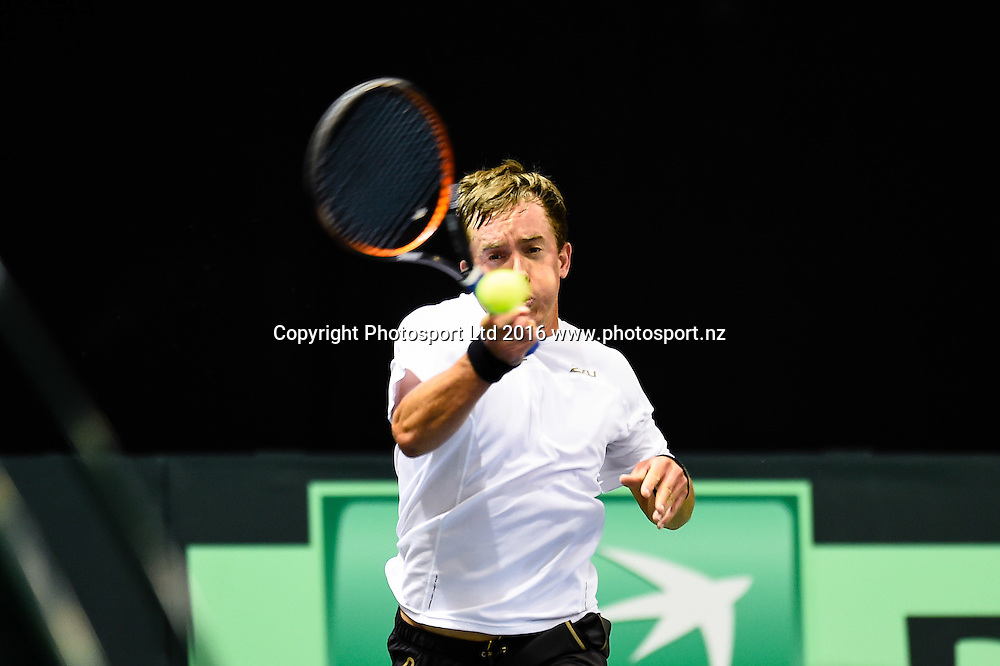 Rubin Statham of New Zealand during the Davis Cup  Tennis singles match V Mohammad Abid Ali Khan Akbar of Pakistan in the Group 1 tie, New Zealand V Pakistan, at the Z Energy Tennis Centre, Wilding Park , Christchurch, New Zealand, 16th September 2016. © Copyright Photo: John Davidson / www.photosport.nz