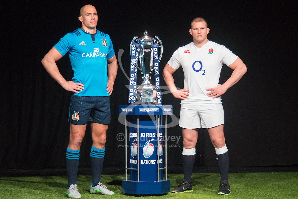 Hurlingham Club, London, January 27th 2016. Italy Captain Sergio Parisse and England Captain Dylan Hartley at the launch of the RBS Six Nations Rugby Tornament. ///FOR LICENCING CONTACT: paul@pauldaveycreative.co.uk TEL:+44 (0) 7966 016 296 or +44 (0) 20 8969 6875. ©2015 Paul R Davey. All rights reserved.