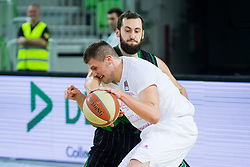 Bojan Radulovic of Petrol Olimpija and Stefan Fundic of Mega Bemax during Basketballl match between Petrol Olimpija Ljubljana and Mega Bemax in Round #15 of ABA League, on January 5, 2018 in Arena Stozice, Ljubljana, Slovenia. Photo by Ziga Zupan / Sportida