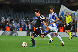 September 14, 2017 - San Sebastian, Gipuzkoa - Basque Country, Spain - Anders Trondsen of Rosenborg BK duels for the ball with Xabi Prieto of Real Sociedad during the UEFA Europa League Group L football match between Real Sociedad and Rosenborg BK at the Anoeta Stadium, on 14 september 2017 in San Sebastian, Spain  (Credit Image: © Jose Ignacio Unanue/NurPhoto via ZUMA Press)