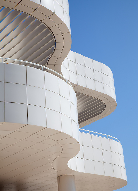 exterior architectural photography of Getty Museum, Los Angeles