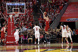 14 February 2016: Peter Hanley offers up a 15 footer during the Illinois State Redbirds v Bradley Braves at Redbird Arena in Normal Illinois (Photo by Alan Look)