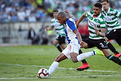 May 25, 2019 - Oeiras, Portugal - OEIRAS, PORTUGAL - MAY 25: Porto's Algerian forward Yacine Brahimi (L) vies with Sporting's defender Tiago Ilori from Portugal (R ) during the Portugal Cup Final football match Sporting CP vs FC Porto at Jamor stadium, on May 25, 2019, in Oeiras, outskirts of Lisbon, Portugal. (Credit Image: © Pedro Fiuza/NurPhoto via ZUMA Press)