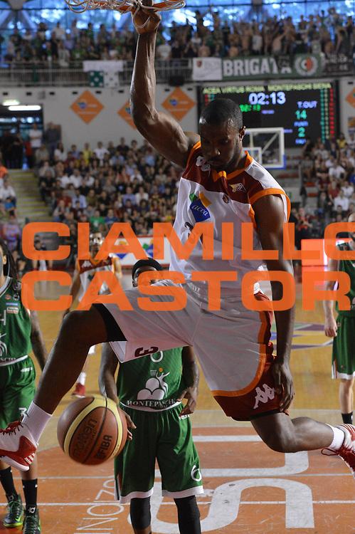 DESCRIZIONE : Roma Lega A 2012-2013 Acea Roma Montepaschi Siena  playoff finale gara 2<br /> GIOCATORE : Gani Lawal<br /> CATEGORIA : Schiacciata<br /> SQUADRA : Acea Roma<br /> EVENTO : Campionato Lega A 2012-2013 playoff finale gara 2<br /> GARA : Acea Roma Montepaschi Siena <br /> DATA : 13/06/2013<br /> SPORT : Pallacanestro <br /> AUTORE : Agenzia Ciamillo-Castoria/GiulioCiamillo<br /> Galleria : Lega Basket A 2012-2013  <br /> Fotonotizia : Roma Lega A 2012-2013 Acea Roma Montepaschi Siena  playoff finale gara 2
