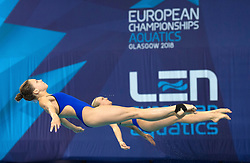 Russia's Kristina Ilinykh (left) and Nadezhda Bazhina competing in the Women's Synchronised 3m Springboard Final during day eleven of the 2018 European Championships at the Royal Commonwealth Pool, Edinburgh.