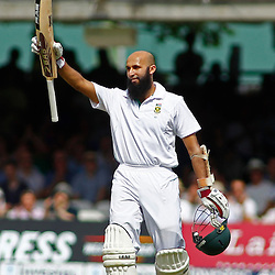 19/08/2012 London, England. South Africa's Hashim Amla celebrates a century during the third Investec cricket international test match between England and South Africa, played at the Lords Cricket Ground: Mandatory credit: Mitchell Gunn