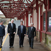 Transport Minister Unveils Funding for Gleneagles Station....15.11.13<br /> Keith Brown MSP Transport Minister for Scotland pictured at Gleneagles railway station this morning to announce funding to improve Gleneagles station and services ahead of the 2014 Ryder Cup. He is pictured with from left, David Simpson Route MD Network Rail, Steve Montgomery MD Scotrail and Cllr Ian Miller Council Leader Perth & Kinross Council.<br /> Picture by Graeme Hart.<br /> Copyright Perthshire Picture Agency<br /> Tel: 01738 623350  Mobile: 07990 594431