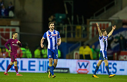 WIGAN, ENGLAND - Monday, February 19, 2018: Wigan Athletic's goal-scorer Will Grigg celebrates after being Manchester City 1-0 during the FA Cup 5th Round match between Wigan Athletic FC and Manchester City FC at the DW Stadium. (Pic by David Rawcliffe/Propaganda)