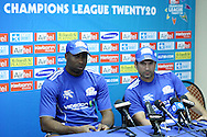 Kieran Pollard and Sachin Tendulkar during the Mumbai Indians press conference held at The Wanderers Stadium in Johannesburg on the 6th September 2010 held as part of the build up to the Champions League T20 tournament being held in South Africa between the 10th and 26th September 2010..Photo by: Ron Gaunt/SPORTZPICS/CLT20