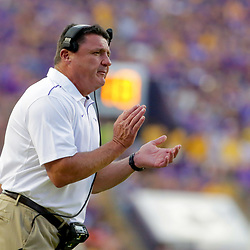 Sep 14, 2019; Baton Rouge, LA, USA; LSU Tigers head coach  during the first quarter against the Northwestern State Demons at Tiger Stadium. Mandatory Credit: Derick E. Hingle-USA TODAY Sports