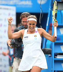 Monica Puig of Puerto Rico celebrates after beating Caroline Wozniacki ( not pictured ) of Denmark - Mandatory by-line: Paul Terry/JMP - 22/06/2016 - TENNIS - Devonshire Park - Eastbourne, United Kingdom - Monica Puig v Caroline Wozniacki - Aegon International Eastbourne