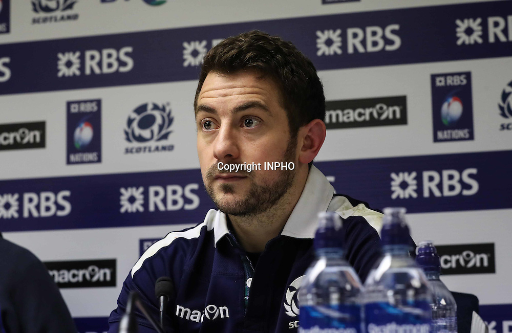 RBS 6 Nations Championship Round 1, BT Murrayfield, Scotland 4/2/2017<br /> Scotland vs Ireland<br /> Scotland&rsquo;s captain Greig Laidlaw at the post match press conference <br /> Mandatory Credit &copy;INPHO/Billy Stickland