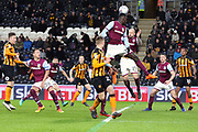 Aston Villa defender Alan Hutton (21) heads the ball clear during the EFL Sky Bet Championship match between Hull City and Aston Villa at the KCOM Stadium, Kingston upon Hull, England on 31 March 2018. Picture by Mick Atkins.