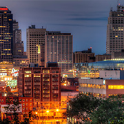 A portion of the downtown Kansas City Missouri skyline at dusk in August 2011.