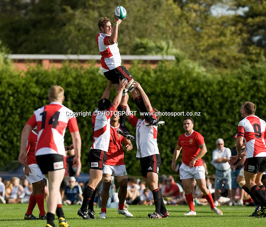 Luck Romano takes a lineout for the Crusader Knights. Crusader Knights v Tonga, Pacific Rugby Cup match held at the Lincoln University, Canterbury, Monday 14 March 2011. Photo : Joseph Johnson / photosport.co.nz