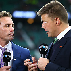 LONDON, ENGLAND - OCTOBER 24: Justin Marshall with Bob Skinstad Supersport rugby commentator during the Rugby World Cup Semi Final match between South Africa and New Zealand at Twickenham Stadium on October 24, 2015 in London, England. (Photo by Steve Haag/Gallo Images)