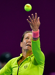 DOHA, Feb. 15, 2019  Barbora Strycova of the Czech Republic serves during the women's singles quarterfinal between Barbora Strycova of the Czech Republic and Angelique Kerber of Germany at the 2019 WTA Qatar Open in Doha, Qatar, Feb. 14, 2019. Barbora Strycova lost 1-2. (Credit Image: © Nikku/Xinhua via ZUMA Wire)