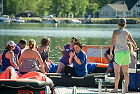"Rafters during the Make A Wish ""Rafting for Wishes"" event on Saturday morning.   (Karen Bobotas/for the Laconia Daily Sun)"
