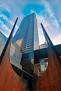 Museum of Modern Art, Museum of Modern Art Tower designed by Cesar Pelli & Associates [1985], New York City, New York, sculpture by Richard Serra