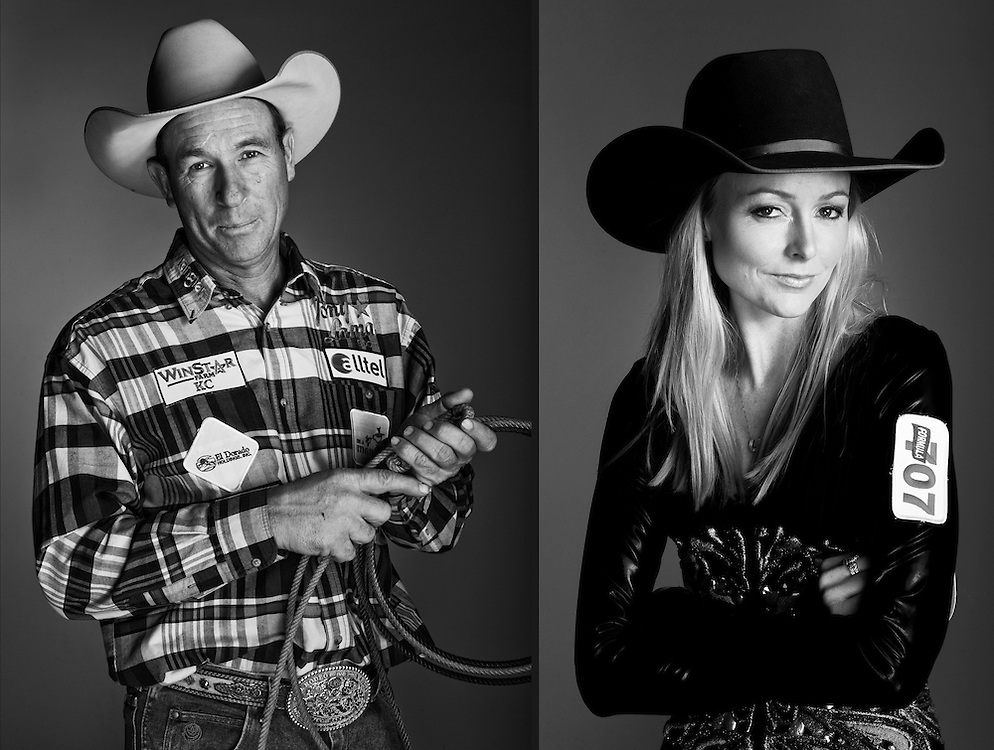 Jake Barnes, calf roper, and Lindsay Sears, barrel racer, photographed at the Wrangler National Finals Rodeo in Las Vegas, Nevada.